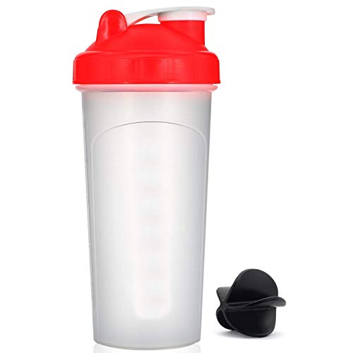 (HOOPLE 20oz Red Mix Whip Blend & Shake Clear Classic Colored Screw Top Shaker Bottle Sport Mixer Smoothie Protein Weight Loss Shakes & Powders with Black Mixing Ball (20oz-Red))