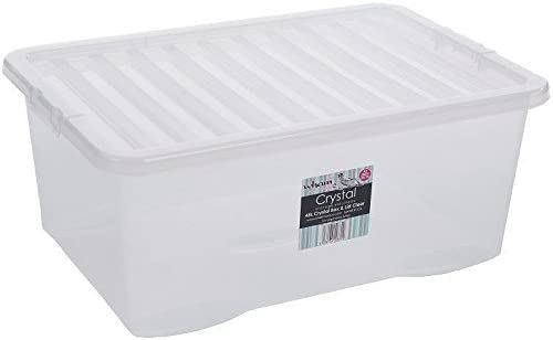 Wham – Set de cajas de plástico transparente caja de almacenaje w/tapas casa oficina apilable Nestable, 45L - 45 Litre: Amazon.es: Hogar