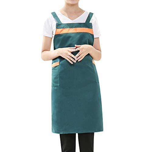 GateLie Unisex Fashion Color Patchwork Cooking Chef Apron Casual Kitchen Restaurant Bib Dress Apron with Pockets (Green) ()