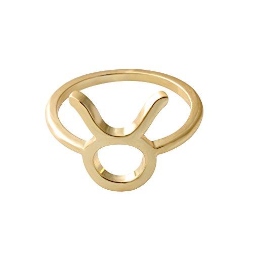 (SENFAI 12 Zodiac Sign Constellation Finger Ring Gold Color Horoscope Astrology Disc Ring)