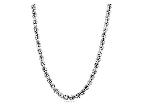 Verona Jewelers 925 Sterling Silver Diamond-Cut Rope Chain Necklace 2MM, 3MM, 4MM - 925 Braided Twist Italian Necklace, 925 Gold Rope Chain, 14K Gold Over Silver Rope Chain Necklace (18, 3MMRHODIUM)