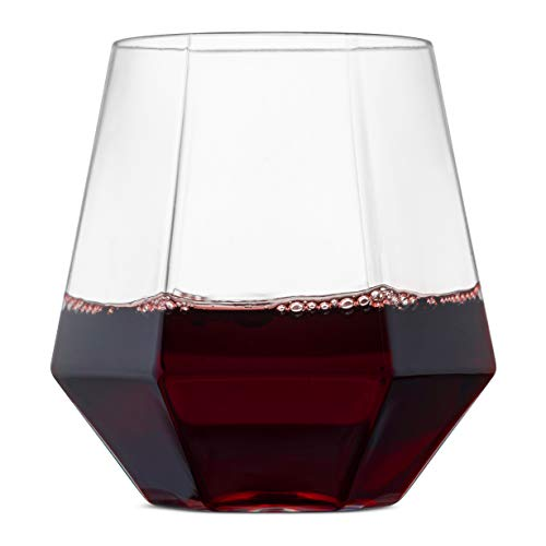 Plastic Wine Glasses Bulk Cheap (32 Pack Diamond Shaped Plastic Stemless Wine Glasses Disposable 12 Oz Clear Plastic Wine Whiskey Cups Shatterproof Recyclable and)
