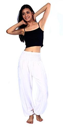 Boho Vib Women's Rayon Print Smocked Waist Boho Harem Yoga Pants (Small/Medium, Solid White) by Boho Vib (Image #3)