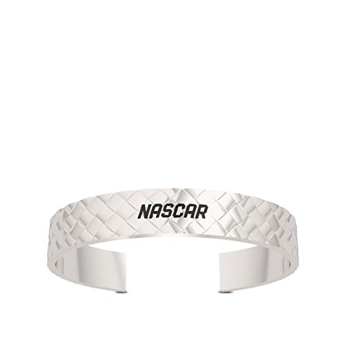 Nascar - Embossed Men's Leather Strap Bracelet in Sterling Silver