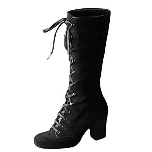 Women's Boots Mid Calf Block Chunky Heel Motorcycle Combat Boots Wide Knee High Lace Up Riding Boots