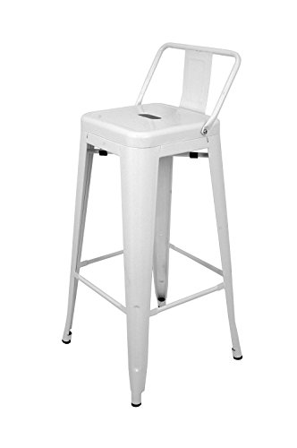 La Silla Espanola - Taburete estilo Tolix con respaldo. Color Blanco. Medidas 95x44,5x44,5