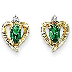 14K Diamond & Emerald Earrings, 14 kt Yellow Gold