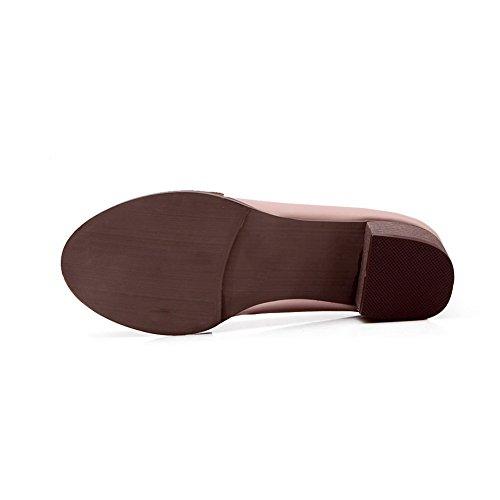 Balamasa Dames Slip-on Lage Hakken Effen Geïmiteerd Lederen Pumps-schoenen Roze
