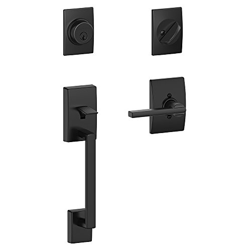 Schlage Lock Company Century Single Cylinder Handleset and Latitude Lever, Matte Black (F60 CEN 622 LAT CEN ) (Front Door Handle Black)