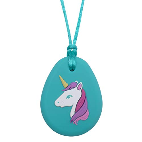 Unicorn Chewelry - Sensory Oral Motor Aide Chewy Necklace - Chewy Fidget Toy (Aqua)