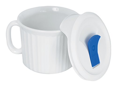 Twin Mug Set - Corningware 20-Ounce Oven Safe Meal Mug with Vented Lid, French White