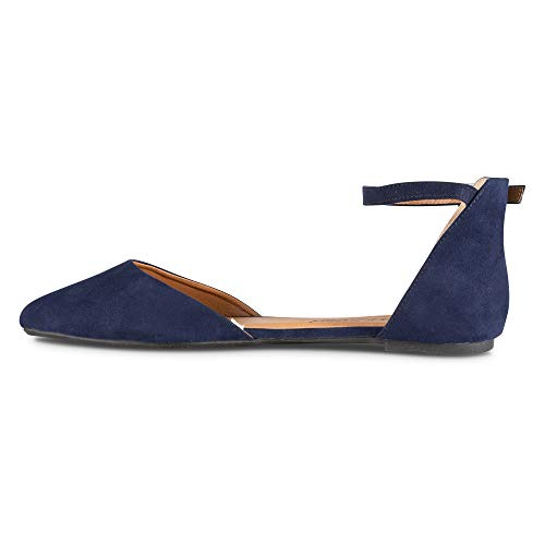 Faux Flat Strap Womens Twisted Ankle with Toe Navy Ballet Suede Almond 5A6znzYx