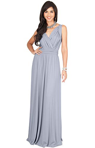 KOH KOH Womens Long Sleeveless Flowy Bridesmaids Cocktail Party Evening Formal Sexy Summer Wedding Guest Ball Prom Gown Gowns Maxi Dress Dresses, Gray/Grey M 8-10