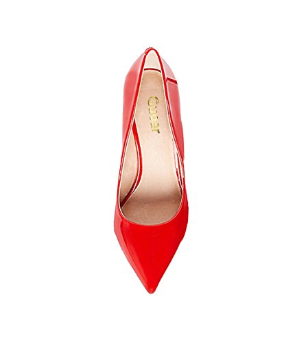 Guoar Womens Stiletto Heel Plus Size Solid Shoes Pointed Toe Patent Pumps For Wedding Party Dress Red Patent nwcFKuFQc