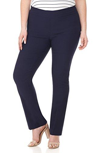 Rekucci Curvy Woman Plus Size Modern Straight Leg Pant w/Tummy Control ()