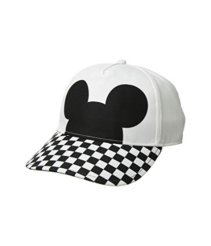 Vans Women's X Disney Mickey Mouse Checkerboard Court Side Strapback Hat Cap, White/Black
