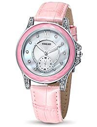 (Time100 Women Leather Band Buckle Button Watch Fashion Diamond Alloy Plating Case Watches for Ladies)