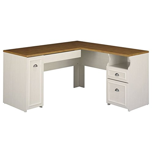 Fairview L Shaped Desk in Antique White Bush Industries--DROPSHIP