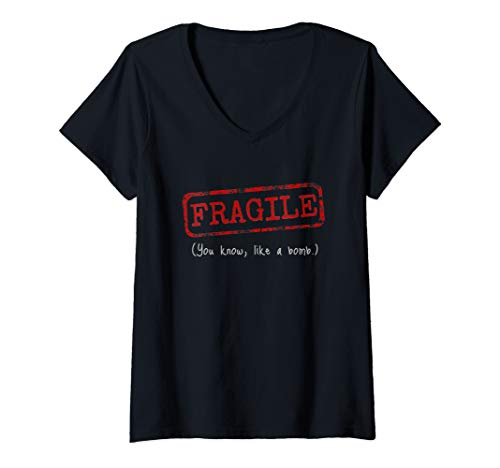Womens Feminist Women's Equal Rights Shirt - Fragile, Like a Bomb V-Neck - Womens T-shirt Bomb