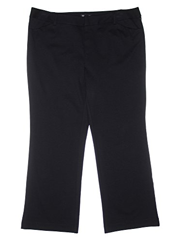 INC International Concepts Women's Boot Leg Fabric Dress Pants (22W, Black)