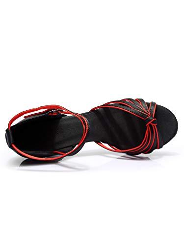 Peep Rouge Femmes Haute Latine Tookang Sandales talon De Danse Talon Noir Milieu Chaussures 7cm Standard Salsa Toe vagppqS0w