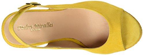 PEDRO MIRALLES 19225, Sandalias con Plataforma para Mujer Amarillo (Mostaza)