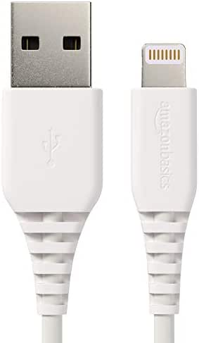 AmazonBasics Lightning to USB A Cable, MFi Certified iPhone Charger, White, 3 Foot, 3 Foot, 2 Pack