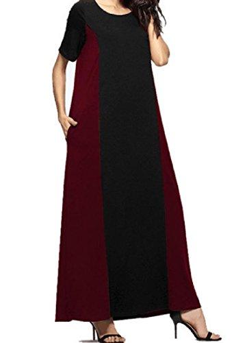 Confortables Femmes Ample Robe À Manches Courtes De Vêtements De Plage De Couleur Rouge Vintage Hit