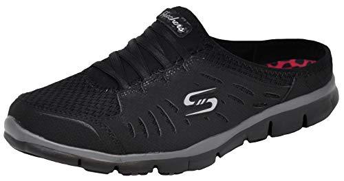 Skechers Sport Women's No Limits Slip-On Mule Sneaker, Black/Black, 8.5 W US (Best Sneakers For Orthotics)