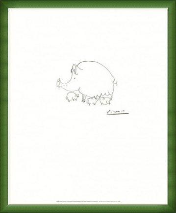 ポスター パブロ ピカソ ブタ 額装品 ウッドベーシックフレーム(グリーン) B072QW7HZ4グリーン