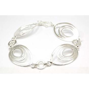 Élégant Bracelet en Argent Fin 925 D'ovales Reliés par La Olivia Collection