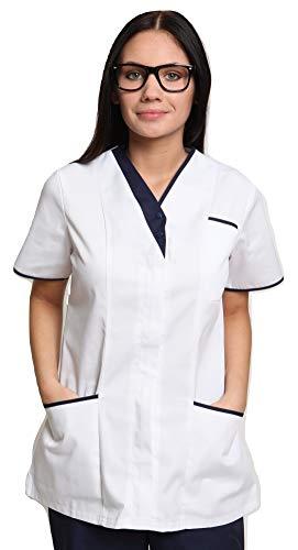 Mirabella Health and Beauty Clothing Women's Cavell Tunic Uniform 24 White/Navy Trim