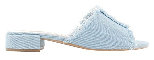 SHU Shoes Blue CRAZY Damas Slip Summer Mules Sandals Mujer On O77 Low Peeptoe Heel Light Denim Slip wqawHxAr