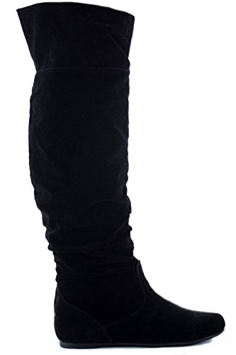 WOMENS LADIES FLAT LOW HEEL OVER THE KNEE HIGH STRETCH BLACK BOOTS SIZE Style 2 - Black Faux Suede C2V36rB