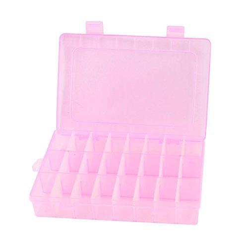Ajustable caja de la joyera DE 24 ranuras de almacenamiento Caja de Herramientas del organizador del arte Color de rosa