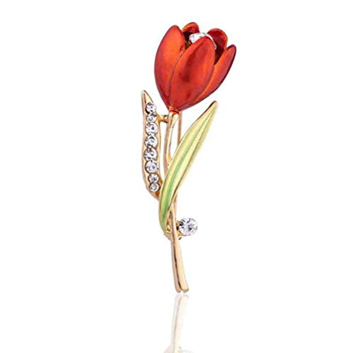 (Daisy Jewelry Women Rose Flower Brooch Pin Rhinestone Rose Gold Brooches Birthday Gift (Red Tulip))