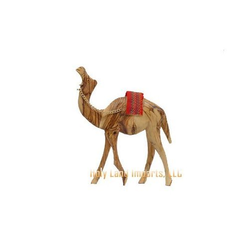 Olive Wood Camel With Red Saddle (7''H).