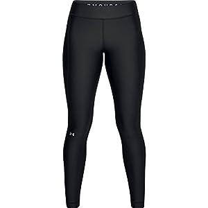 Under Armour Women's HeatGear Armour Leggings, Black/Metallic Silver, Large