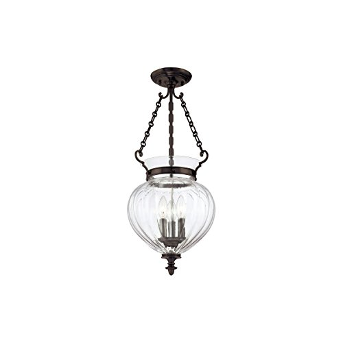 Semi Flush 3 Light with Old Bronze Finish Candelabra Base Bulbs 23 inch 180 Watts ()
