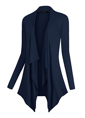 Urban CoCo Women's Drape Front Open Cardigan Long Sleeve Irregular Hem (XL, Navy)
