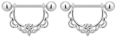 14g Surgical Steel Clear CZ Crystal Lacey Partial Nipple Shield Filigree Barbell Set (Surgical Nipple Steel)