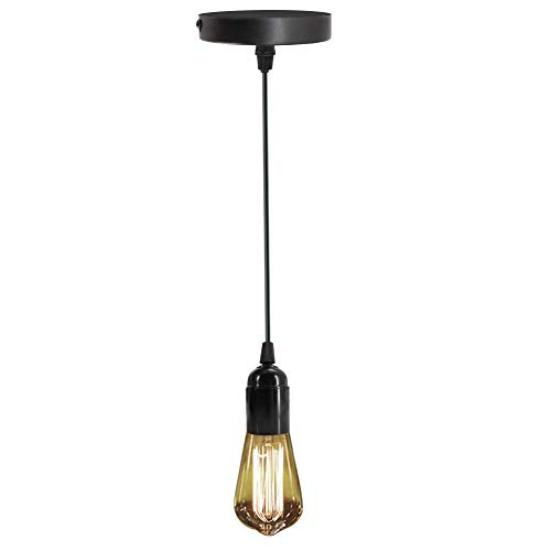 Pendant Lighting Vintage Mini Hanging Light Fixture E26 Socket Industrial Light Kit Black Ceiling Lampholder for Indoor.