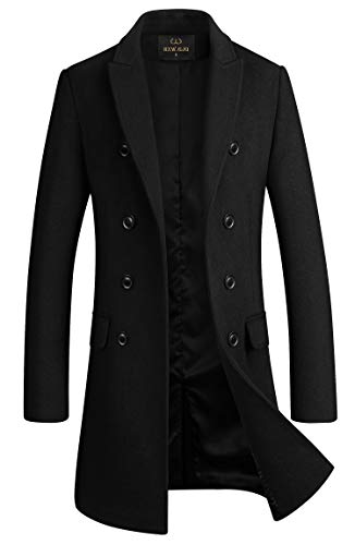 Men's Premium Wool Blend Double Breasted Long Pea Coat (Black, Large)