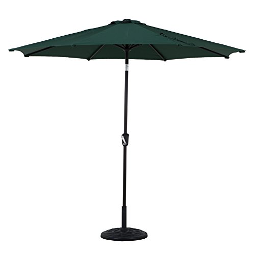 Grand patio Outdoor Table Umbrella with Push Button Tilt and Crank, 9.6 Ft, Dark Green