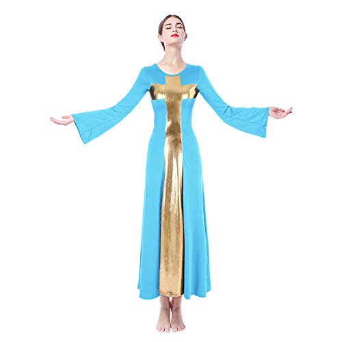 Praise Dance Dress Women Cotton Elegant Vintage Pagoda Sleeve Long Maxi Dress Casual Long Sleeve Wedding Party Dresses Hanukkah Outfit for Church Dance Groups Blue + Gold M ()