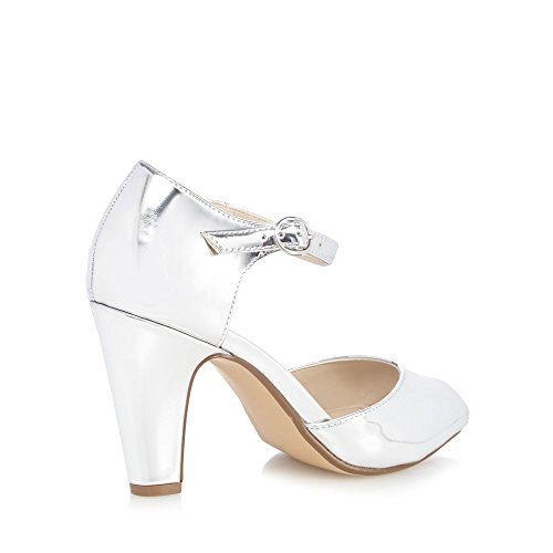 Debut Womens Silver 'DEA' High Block Heel Peep Toe Sandals MH9Gh
