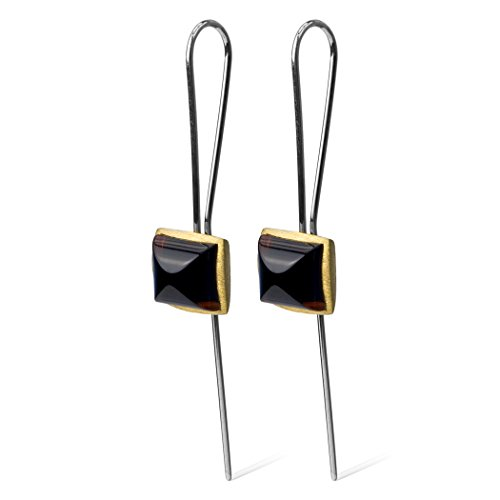 Amber Gold Plated Ring - Dark Amber Gold Plated Sterling Silver Fine Quality Cube Earrings