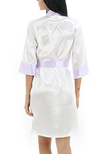 d'onore Viola Raso Trim Accappatoio notte Lussuoso Dolamen da Kimono damigella Vestaglia Sleepwear Pigiama Camicia Kimono Robe Notte Donna da Vestaglie Colori 668rvRa