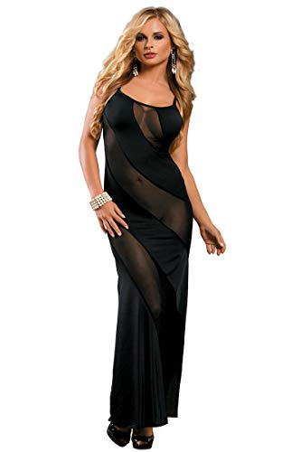 Mesh Halter Gown - SUNSPICE Sexy Sheer Black Shining Mesh Long Nightgown Deep-V Gown Dress for Women (Black-3, one Size)