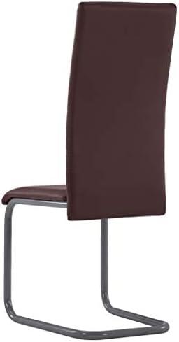 vidaXL 6X Chaises de Salle à Manger Cantilever Chaises de Cuisine Chaises de Repas Chaises de Bureau Maison Intérieur Marron Similicuir